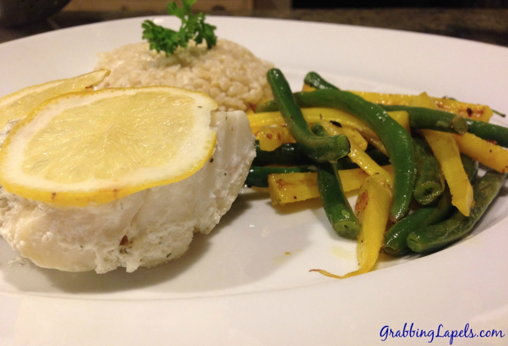 baked cod and veggies and brown rice